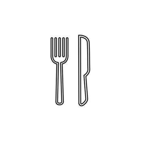 knife and fork icon, cutlery isolated, vector restaurant menu. Thin line pictogram - outline editable stroke