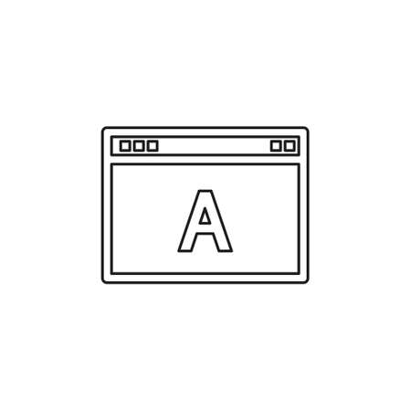 SEO web flat icon adwords advertising, browser. Thin line pictogram - outline editable stroke Illustration