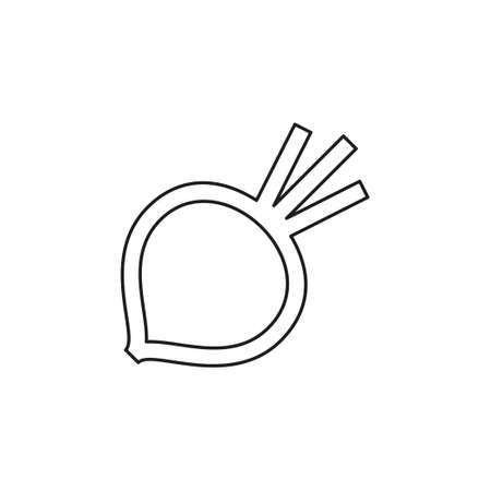 ベクターシュガービートイラスト単離 - 健康な野菜、栄養アイコン - 野菜食品、ベクタービートルート。細い線のピクトグラム - 輪郭編集可能なストローク