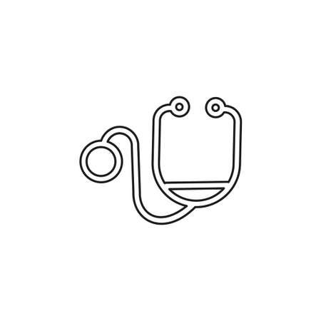 vector stethoscope illustration isolated - medical icon, doctor equipment symbol. Thin line pictogram - outline editable stroke Illustration