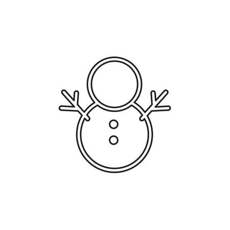 snowman in Christmas and winter theme, glyph style. Thin line pictogram - outline editable stroke