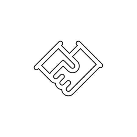 vector handshake symbol, contract icon - deal agreement. friendship, partnership or teamwork concept. Thin line pictogram - outline editable stroke