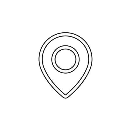 map pointer, map pin, map icon - arrow pin, compass location. Thin line pictogram - outline editable stroke Иллюстрация
