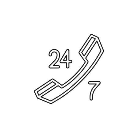 24 7 icône du service client - icône du support client - icône du centre d'appels. Pictogramme de fine ligne - contour modifiable