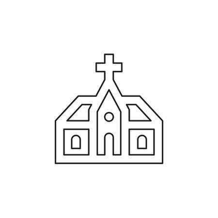 vector church building illustration. church architecture icon. Thin line pictogram - outline editable stroke
