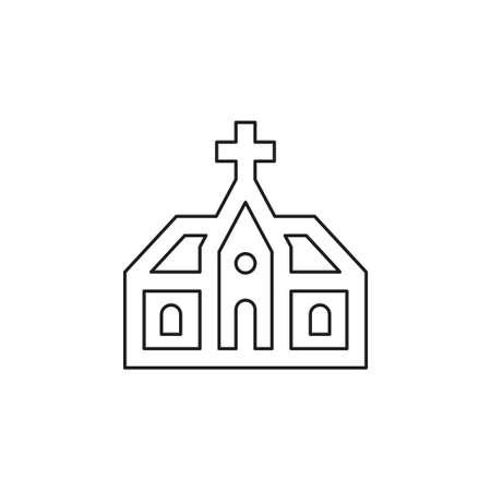 vector church building illustration. church architecture icon. Thin line pictogram - outline editable stroke