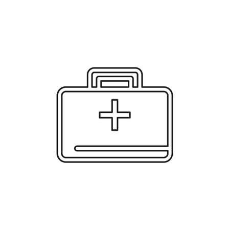 medical kit - vector doctor case illustration, health care - medical case. Thin line pictogram - outline editable stroke