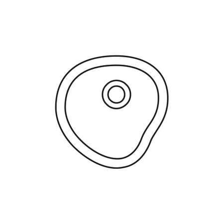 vector fried egg illustration isolated, breakfast meal icon. Thin line pictogram - outline editable stroke Иллюстрация
