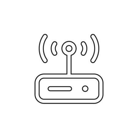 vector router modem illustration icon, computer technology internet, connection equipment symbol. Thin line pictogram - outline editable stroke Иллюстрация