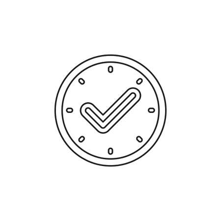 check mark clock icon, time. Thin line pictogram - outline editable stroke Иллюстрация