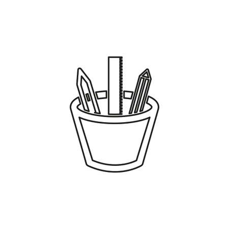 stationary vector icon, pencil with pen and ruler set - school education icon. Thin line pictogram - outline editable stroke Illustration
