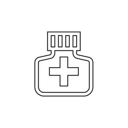medicine bottle icon - medicine pill - pharmacy drug - health care icon. Thin line pictogram - outline editable stroke