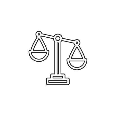 Balance scale icon, balance symbol - justice sign vector. Thin line pictogram - outline editable stroke