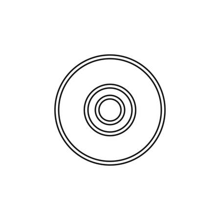 download dvd button - media or music player - multimedia icon vector. Thin line pictogram - outline editable stroke