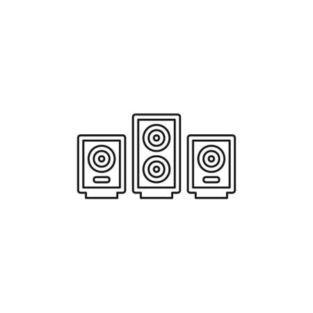 vector sound system speakers - music icon. Thin line pictogram - outline editable stroke