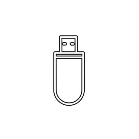 pendrive sign illustration, usb icon vector - technology connection symbol. Thin line pictogram - outline editable stroke Illustration