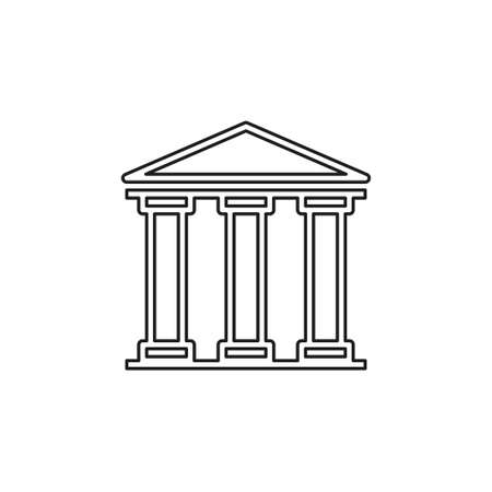 Bank building icon - government illustration - financial savings - investment icon. Thin line pictogram - outline editable stroke