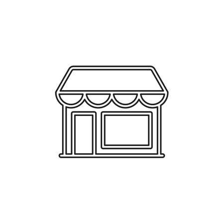 store icon - shopping icon - building storefront - online market. Thin line pictogram - outline editable stroke