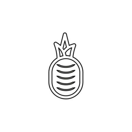 vector pineapple illustration, tropical fruit - organic food icon. Thin line pictogram - outline editable stroke
