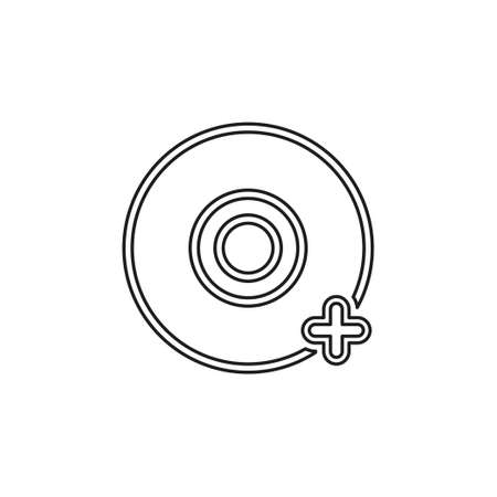 Add dvd - vector cd compact disc illustration, digital data information icon. Thin line pictogram - outline editable stroke