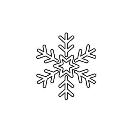 Snowflake icon. Christmas and winter theme. Simple flat illustration. Thin line pictogram - outline editable stroke Иллюстрация