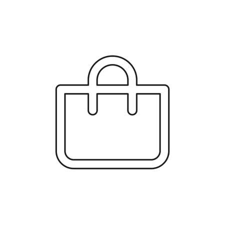 shopping icon, vector fashion bag illustration isolated - mall store sale. Thin line pictogram - outline editable stroke
