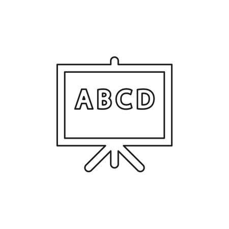 teaching board icon - vector school blackboard - classroom sign and symbol. Thin line pictogram - outline editable stroke Иллюстрация