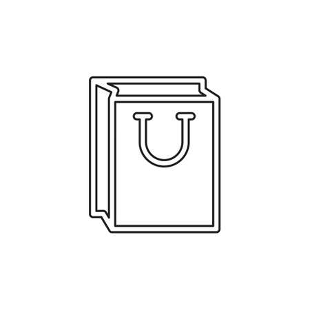 vector christmas bag icon. shop bag - retail and merchandise container. Thin line pictogram - outline editable stroke