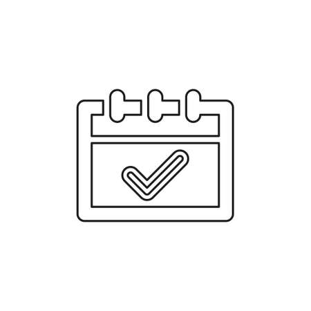calendar approved icon - check mark symbol, business planner application - event plan sign. Thin line pictogram - outline editable stroke
