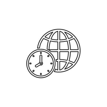 world time illustration, global time map zone symbol. Thin line pictogram - outline editable stroke
