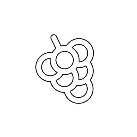 vector grapes - nature illustration, fruit symbol - wine icon. Thin line pictogram - outline editable stroke