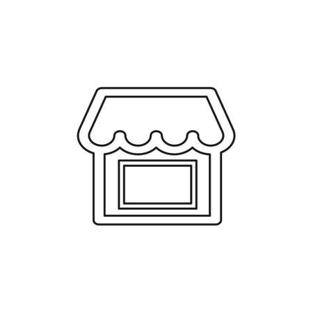 shopping store building - vector store front illustration, supermarket icon. Thin line pictogram - outline editable stroke