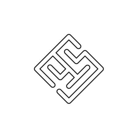 vector maze abstract icon - puzzle labyrint symbol. Thin line pictogram - outline editable stroke