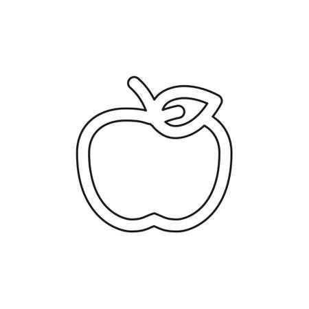 vector apple fruit illustration, fresh healthy food - organic natural food isolated icon. Thin line pictogram - outline editable stroke Иллюстрация