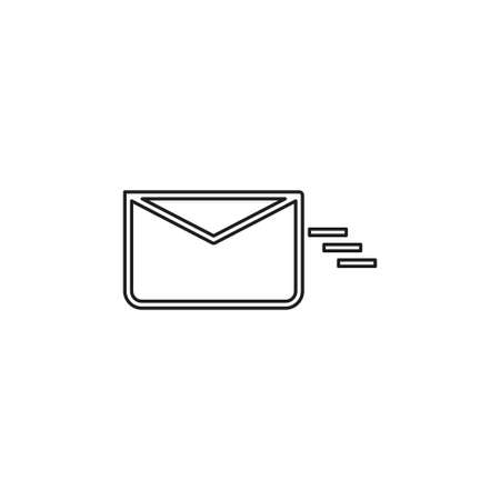sending mail or message icon, envelope illustration - vector mail symbol, send letter isolated. Thin line pictogram - outline editable stroke Illustration