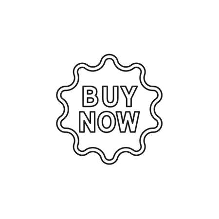 vector buy now sign icon - shop label symbol. offer. Thin line pictogram - outline editable stroke
