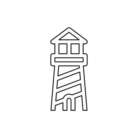 navigation sea tower icon - vector lighthouse - ocean navigation symbol - sea house. Thin line pictogram - outline editable stroke