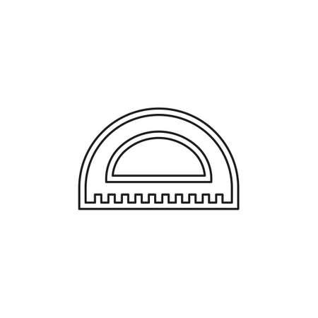 protractor ruler icon, school illustration - education icon, measurement scale tool vector. Thin line pictogram - outline editable stroke Иллюстрация