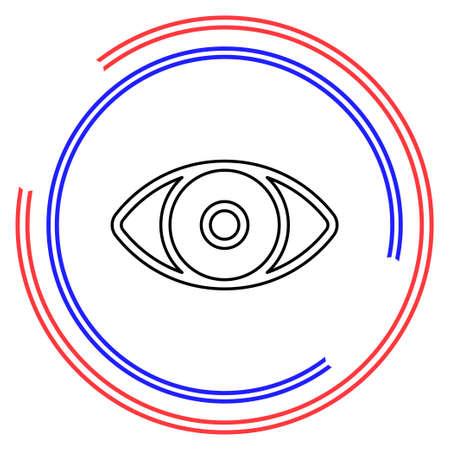 Simple Eye. Thin line pictogram - outline editable stroke Illustration