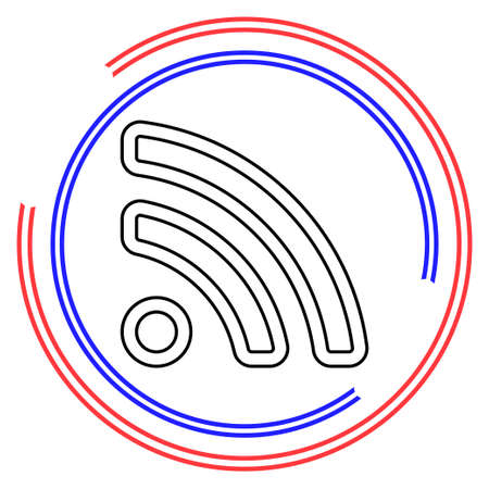 Simple RSS. Thin line pictogram - outline editable stroke Çizim