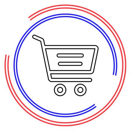 Simple Shopping Cart. Thin line pictogram - outline editable stroke