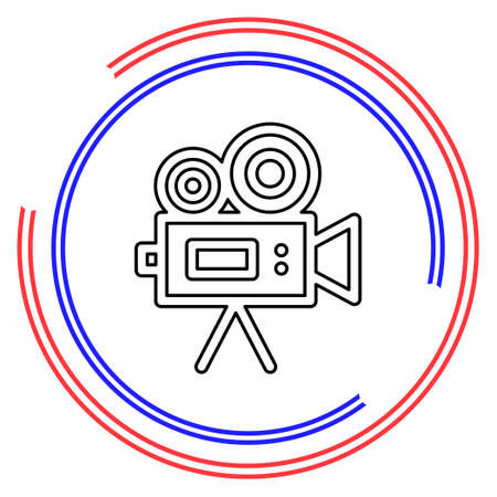 Simple Video Camera. Thin line pictogram - outline editable stroke Çizim