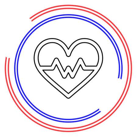 vector Heartbeat icon, health monitor, health care. Thin line pictogram - outline editable stroke Çizim
