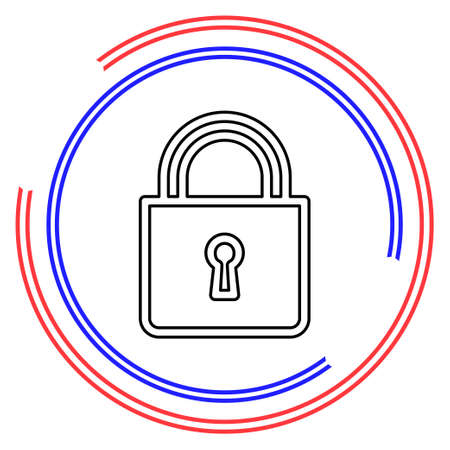 Lock icon, vector padlock, security safety symbol, lock sign - internet protection illustration. Thin line pictogram - outline editable stroke 일러스트