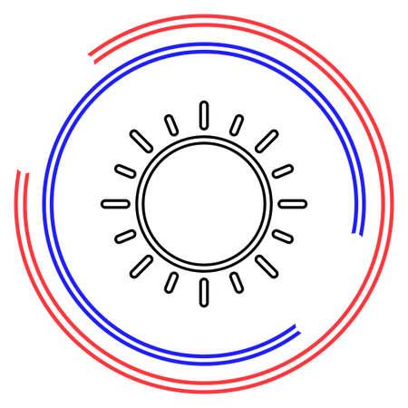 sun sign icon, vector sunlight, bright sunny. Thin line pictogram - outline editable stroke Illusztráció