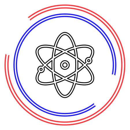 atom icon, atom vector symbol, chemistry and science research, molecule illustration, chemistry science symbol. Thin line pictogram - outline editable stroke Illusztráció