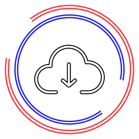 Download cloud icon, vector download illustration, cloud computing. Thin line pictogram - outline editable stroke