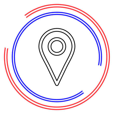 map pointer, map pin, map icon - arrow pin, compass location. Thin line pictogram - outline editable stroke Ilustrace