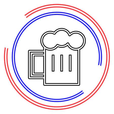 Glass of beer illustration, beer mug - drink alcohol symbol, bar sign. Thin line pictogram - outline editable stroke Illusztráció
