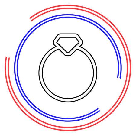 diamond Ring - wedding or engagement illustration, diamond ring symbol. Thin line pictogram - outline editable stroke